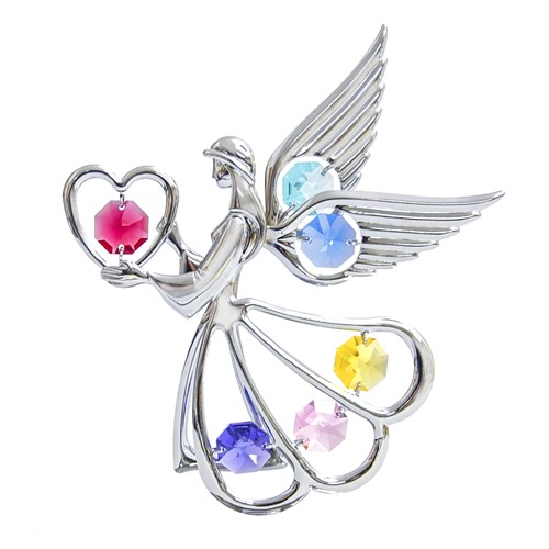 Chrome Plated Angel w/Heart Sun Catcher w/ Swarovski Element Crystal (7 colors)