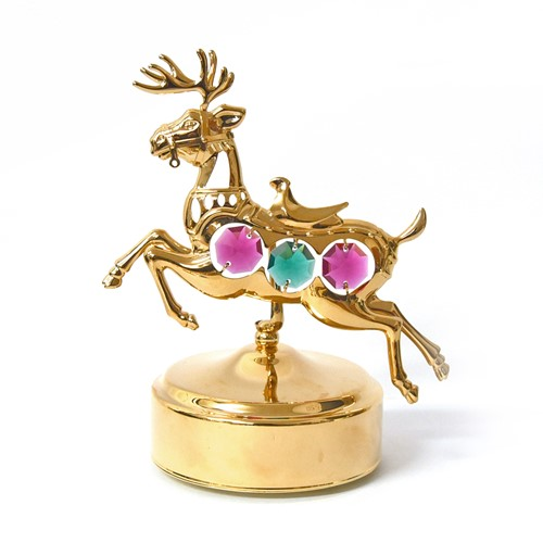 24K Gold Plated Carousel Deer Music Box | Mascot USA